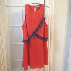 Tory Burch orange silk dress 12